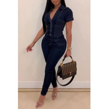 Lovely Stylish Zipper Design Deep Blue One-piece Jumpsuit