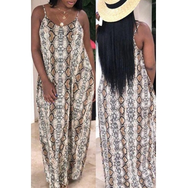 Lovely Stylish Printed Backless Brown Floor Length Dress