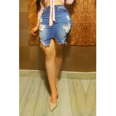 Lovely Stylish Broken Holes Baby Blue Denim Knee Length A Line Skirt