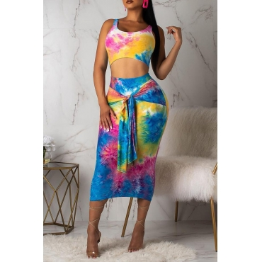 Lovely Casual U Neck Printed Two-piece Skirt Set