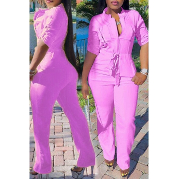 Lovely Casual O Neck Half Sleeve Pink One-piece Jumpsuit