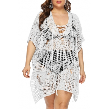 Lovely Stylish Hollow-out White Cover-up