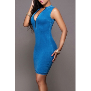 Lovely Casual Mandarin Collar Zipper Design Blue Denim Mini Dress