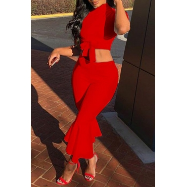Lovely Stylish O Neck Horn-type Red Two-piece Pants Set