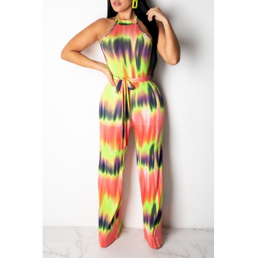 Lovely Stylish Halter Neck Printed Yellow One-piece Jumpsuit