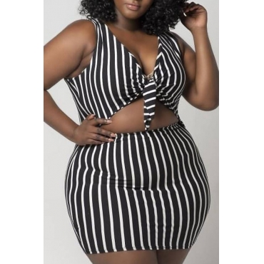 Lovely Work V Neck Striped Black Two-piece Skirt Set