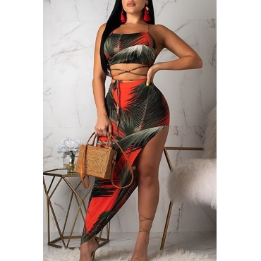 Lovely Sexy Spaghetti Strap Printed Asymmetrical Red Two-piece Skirt Set
