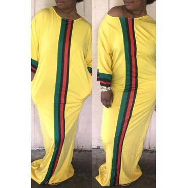 Lovely Casual O Neck Striped Patchwork Yellow Floor Length Dress
