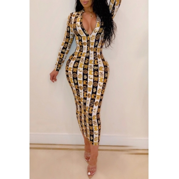Lovely Stylish Printed Gold Ankle Length A Line Dress