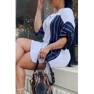 Lovely Casual Mandarin Collar Patchwork Asymmetrical White Dress