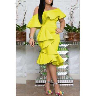 Lovely Stylish One Shoulder Ruffle Design Yellow Knee Length Dress
