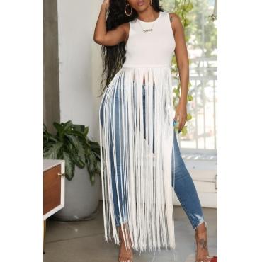 Lovely Chic Tassel Design White Blouse