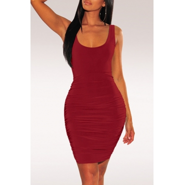 Lovely Sexy Backless Wine Red Knee Length A Line Dress