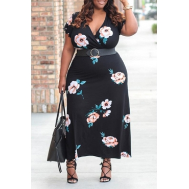 Lovely Stylish Floral Printed Black Ankle Length Dress(Without Belt)