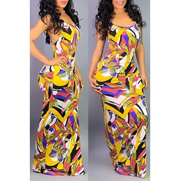 Lovely Sexy Printed Backless Multicolor Floor Length Dress
