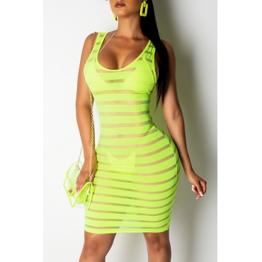 Lovely Sexy See-through Green Gauze Knee Length A Line Dress