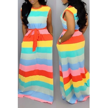 Lovely Casual  Striped Printed Multicolor Floor Length Dress