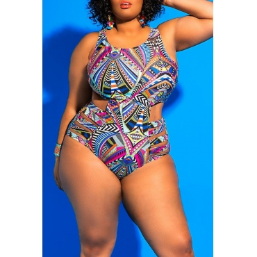 Lovely Geometric Printed Hollow-out Rose Red One-piece Swimwear