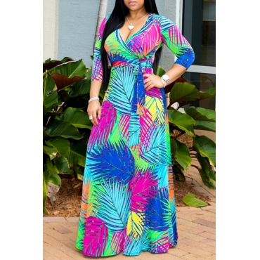Lovely Sweet V Neck Printed Multicolor Ankle Length Dress