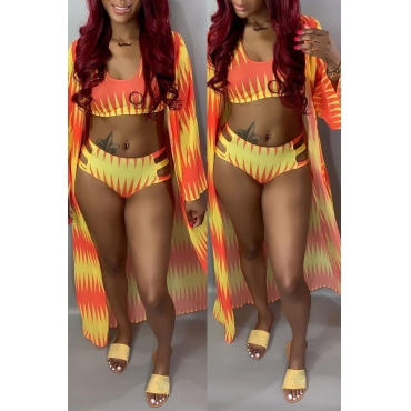 Lovely Printed Hollow-out Orange Three-piece Swimwear