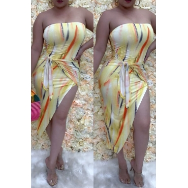 Lovely Sexy Off The Shoulder Printed Asymmetrical Multicolor Mid Calf Dress