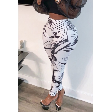 Lovely Casual Printed White Pants