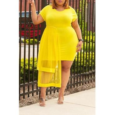 Lovely Trendy O Neck Gauze Patchwork Yellow Dress