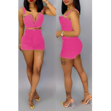Lovely Work Sleeveless Buttons Design Rose Red Two-piece Shorts Set