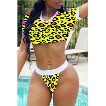 Lovely Leopard Printed Yellow Two-piece Swimwear