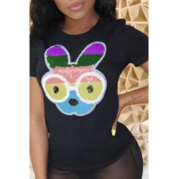 Lovely Trendy O Neck Printed Black T-shirt