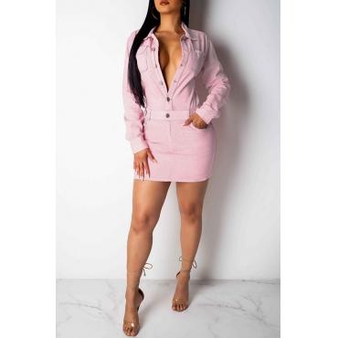 Lovely Casual Turndown Collar Buttons Design Light Pink Denim Mini A Line Dress