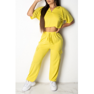 Lovely Casual Hooded Collar Yellow Two-piece Pants Set