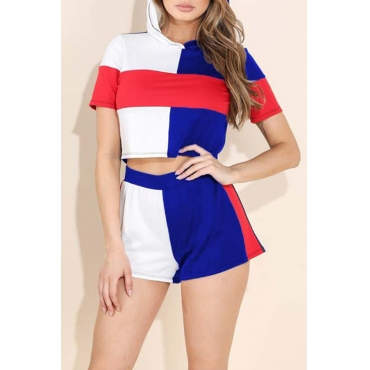 Lovely Casual Hooded Collar Patchwork Blue Two-piece Shorts Set