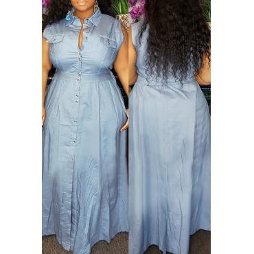 Lovely Stylish Turndown Collar Buttons Design Blue Floor Length Dress