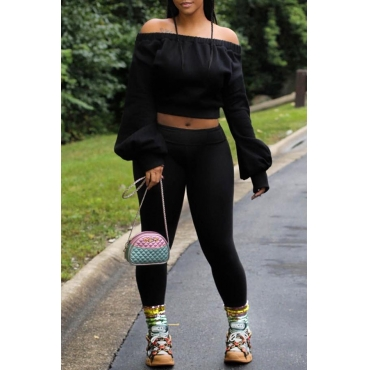 Lovely Casual Off The Shoulder Black Two-piece Pants Set