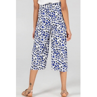Lovely Stylish High Waist Leopard Printed Blue Pants