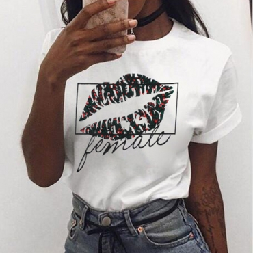 Lovely Casual O Neck Lip Printed White T-shirt