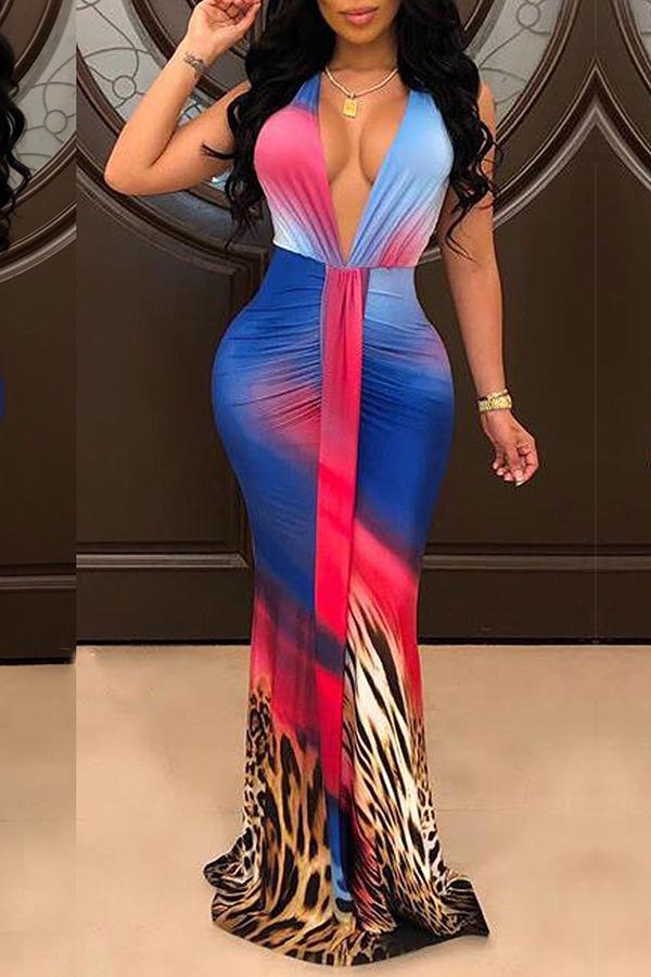 Lovely Sexy Deep V Neck Leopard Printed Multicolor Floor Length Dress