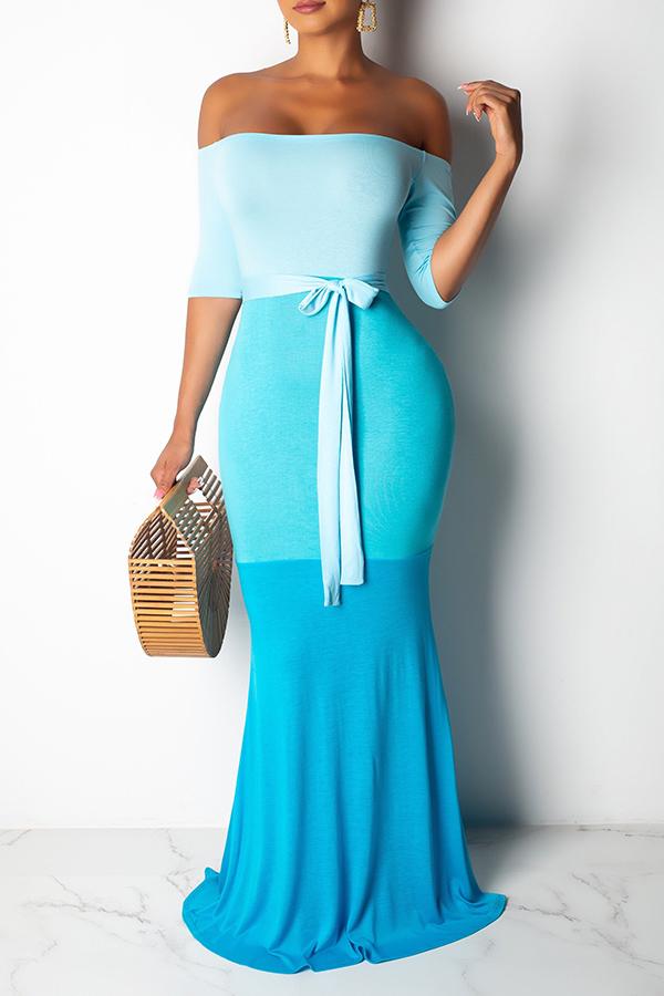Lovely Sweet Off The Shoulder Patchwork Lace-up Multicolor Floor Length A Line Dress
