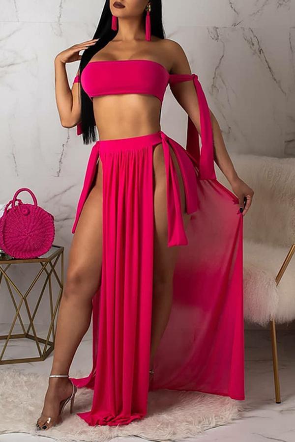 Lovely Off The Shoulder Side Split Rose Red Two-piece Swimwear