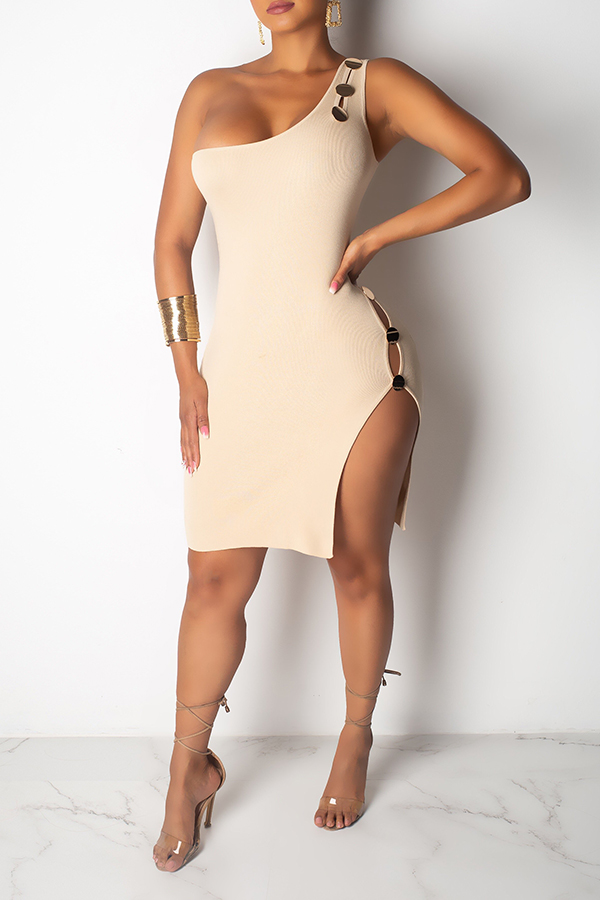 Lovely Sexy One Shoulder Hollow-out Creamy White Knee Length Dress