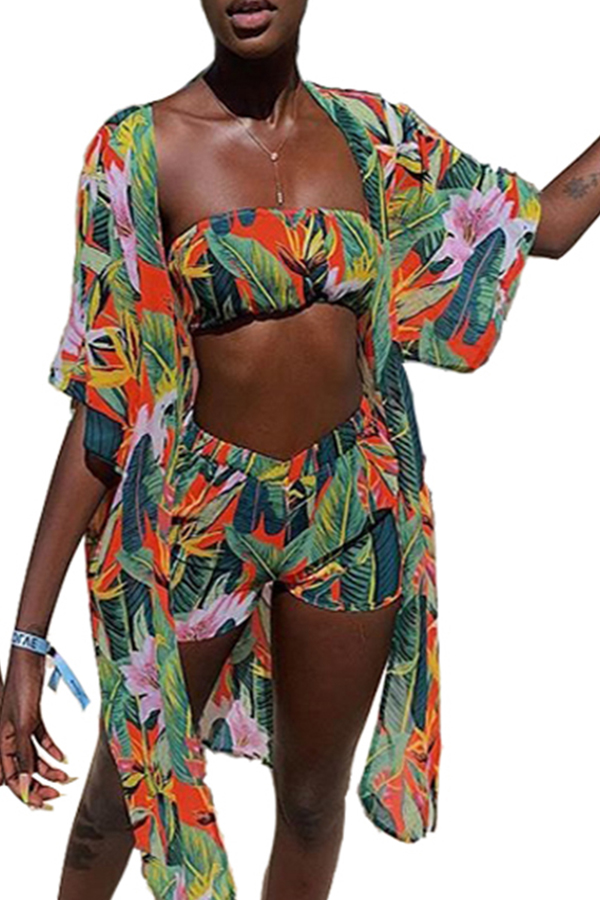 Lovely Printed Multicolor Two-piece Swimwear(With Shawl)