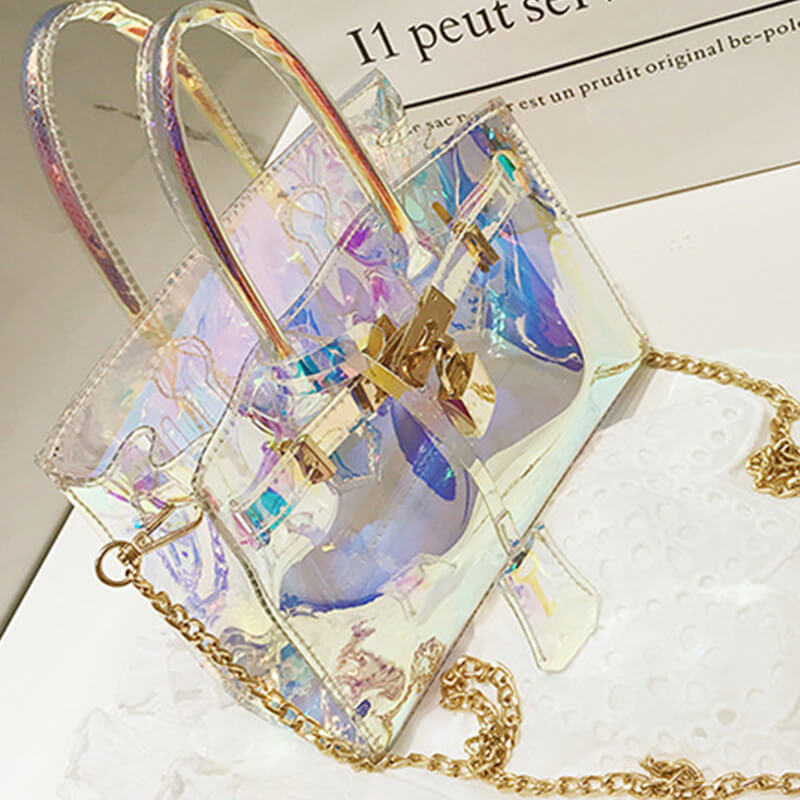 Lovely Fashion See-through Baby Blue PU Crossbody Bag