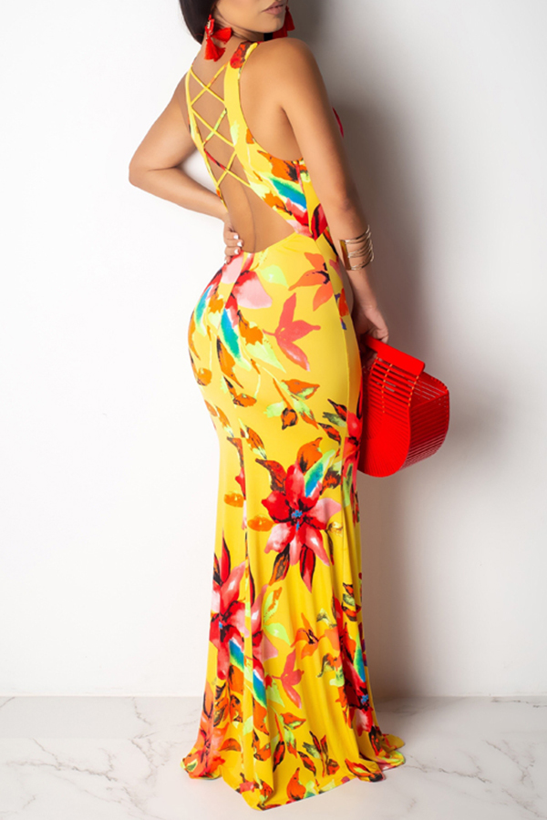 Lovely Sweet V Neck Printed Hollow-out Yellow Floor Length Dress