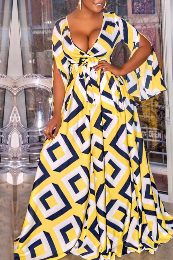 Lovely Stylish V Neck Printed Yellow Floor Length A Line Dress