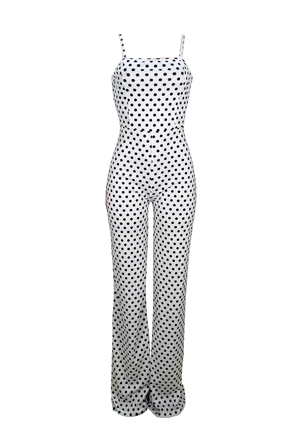 Lovely Sexy Dots Printed White One-piece Jumpsuit