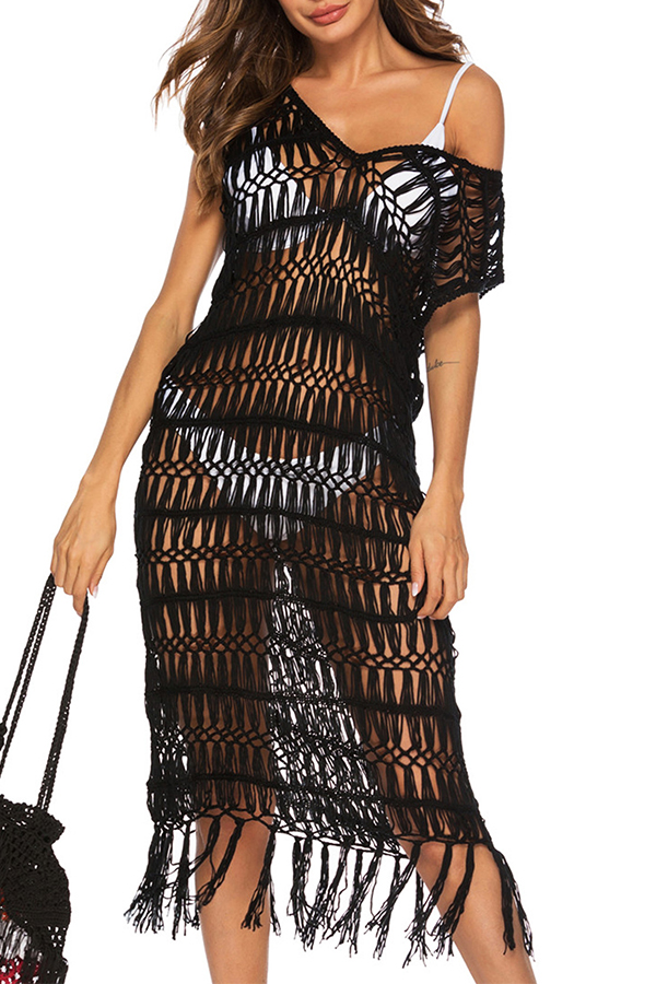 Lovely Sexy Hollow-out Tassel Design Black Cover-up(Without Lining)