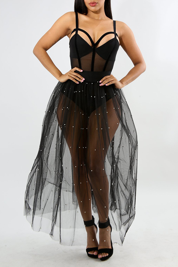 Lovely Sweet See-through Black Gauze Ankle Length A Line Skirt(Without Lining)