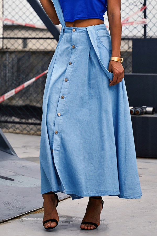 Lovely Casual Button Decorative Blue Ankle Length Skirts