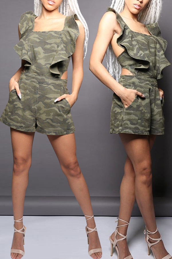 Lovely Sexy Camouflage Printed One-piece Romper